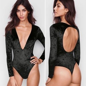 NWT Victoria's Secret Velvet Plunge Bodysuit M/L